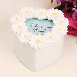 Widdop Floral I Love You Mum White Daisy Trinket Box