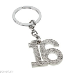 Sophia Silver Crystal 16th Birthday Milestone Keyring In Gift Box