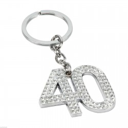 Sophia Silver Crystal 40th Birthday Milestone Keyring In Gift Box