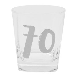 70th Luxe Whiskey Glass & Coaster In Gift Box With 70th Hooray! On Coaster By Widdop Bingham