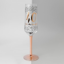 40th Birthday Rose Gold & Black Glass Champagne Flute Gift