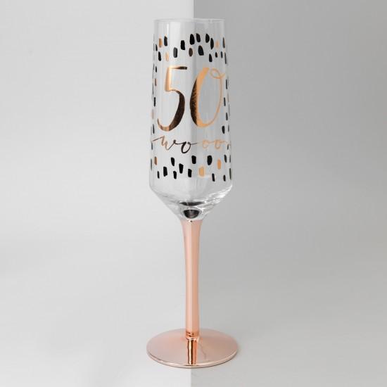 Sparkle Base Glitter Stem Champagne Flute Glass Birthday Age Pink 50 /& Fabulous
