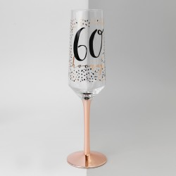 60th Birthday Rose Gold & Black Glass Champagne Flute Gift