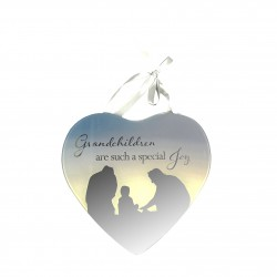 Reflections Of The Heart Grandchildren Mirror Glass Hanging Plaque
