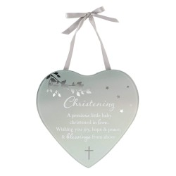 Reflections Of The Heart Christening Mirror Glass Hanging Plaque