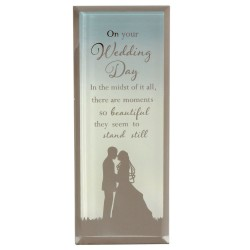 Reflections Of The Heart Wedding Day Glass Mirror Standing Plaque