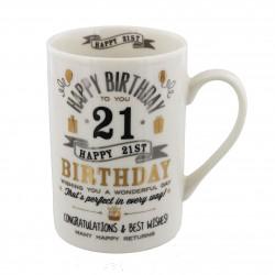 21st Birthday Black & Gold Signography Mug