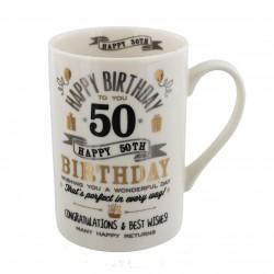 50th Birthday Black & Gold Signography Mug