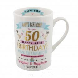 50th Birthday Pink & Gold Signography Mug