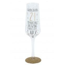 21st Birthday Black & Gold Signography Sparkling Flute Glass