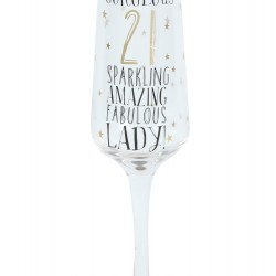 21st Birthday Black & Gold Signography Sparkling Flute Glass