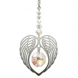 Angel Wing Heart - Aurora Borealis April Birthstone Colour Suncatcher Keepsake - Embellished with Crystals from Swarovski®