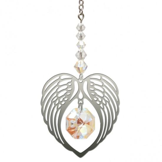 Angel Wing Heart - Aurora Borealis April Birthstone Colour Suncatcher Keepsake - Embellished with Crystals from Swarovski®