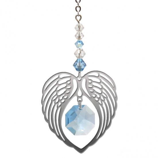 Angel Wing Heart - Aquamarine March Birthstone Colour Suncatcher Keepsake - Embellished with Crystals from Swarovski®