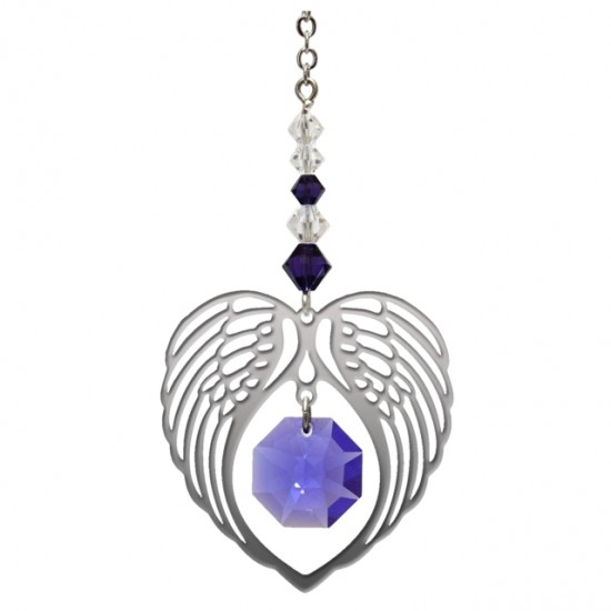 Angel Wing Heart - Amethyst February Birthstone Colour Suncatcher Keepsake - Embellished with Crystals from Swarovski®