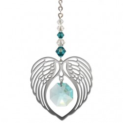Angel Wing Heart - Blue Zircon December Birthstone Colour Suncatcher Keepsake - Embellished with Crystals from Swarovski®