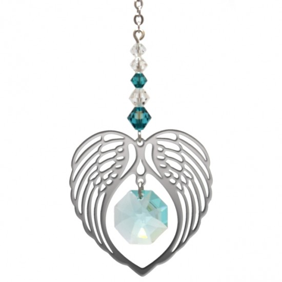 Angel Wing Heart - Blue Zircon December Birthstone Colour Suncatcher Keepsake - Embellished with Crystals from Swarovski®