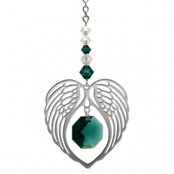 Angel Wing Heart - Emerald May Birthstone Colour Suncatcher Keepsake - Embellished with Crystals from Swarovski®