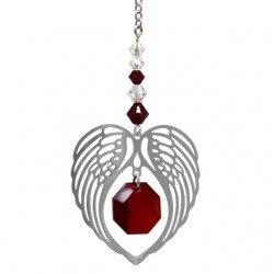 Angel Wing Heart - Garnet January Birthstone Colour Suncatcher Keepsake - Embellished with Crystals from Swarovski®