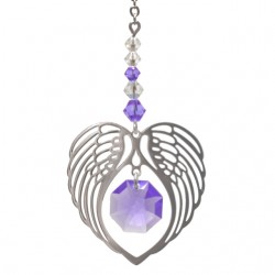 Angel Wing Heart - Light Amethyst June Birthstone Colour Suncatcher Keepsake - Embellished with Crystals from Swarovski®