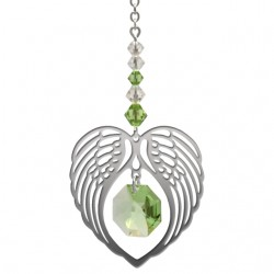Angel Wing Heart - Peridot August Birthstone Colour Suncatcher Keepsake - Embellished with Crystals from Swarovski®