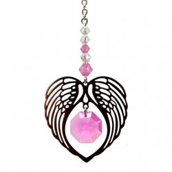 Angel Wing Heart - Rose October Birthstone Colour Suncatcher Keepsake - Embellished with Crystals from Swarovski®