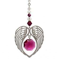 Angel Wing Heart - Ruby July Birthstone Colour Suncatcher Keepsake - Embellished with Crystals from Swarovski®