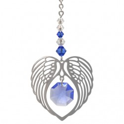 Angel Wing Heart - Sapphire September Birthstone Colour Suncatcher Keepsake - Embellished with Crystals from Swarovski®