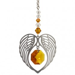 Angel Wing Heart - Topaz November Birthstone Colour Suncatcher Keepsake - Embellished with Crystals from Swarovski®
