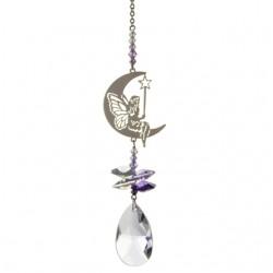 Crystal Fantasy Fairy with Wand Hanging Swarovski Suncatcher Purple