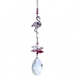 Crystal Fantasy Flamingo Deep Rose Swarovski Crystal Suncatcher Hanging Pendant