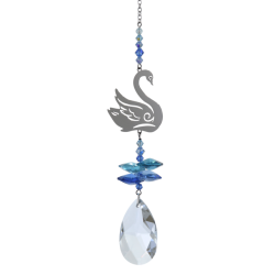 Crystal Fantasy Swan Hanging Swarovski Suncatcher Royal Blue