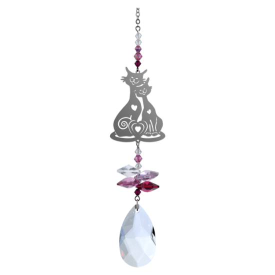 Cats In Love Fantasy Hanging Swarovski Sun-catcher Embellished with Crystals from Swarovski®