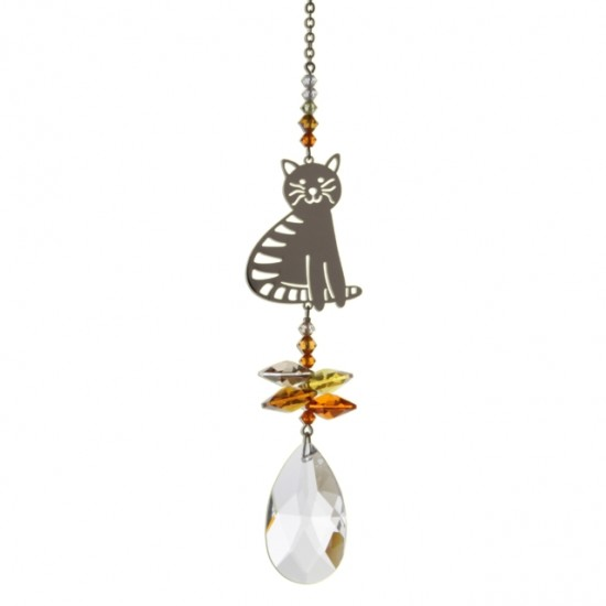 Marmalade Siting Cat Fantasy Hanging Swarovski Sun-catcher Embellished with Crystals from Swarovski®