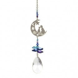 Crystal Fantasy Hanging Swarovski Suncatcher Cats on a Crescent Moon