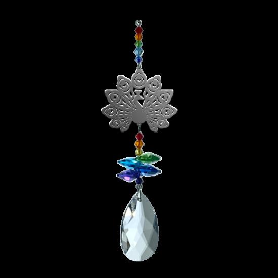 Peacock Prismatic Fantasy Hanging Swarovski Sun-catcher Embellished with Crystals from Swarovski®