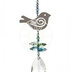 Crystal Fantasy Hanging Swarovski Suncatcher Blue and Green Songbird