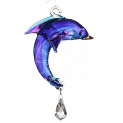 Fantasy Glass Purple Dolphin Swarovski Crystal Suncatcher