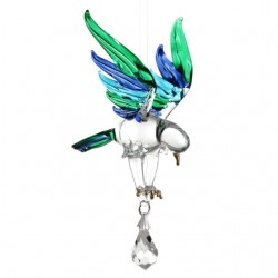 Fantasy Glass Peacock Eagle Swarovski Crystal Suncatcher
