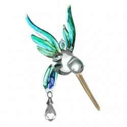 Fantasy Glass Peacock coloured Hummingbird Crystal Suncatcher