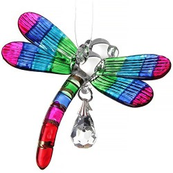 Fantasy Glass Rainbow Dragonfly Swarovski Crystal Suncatcher