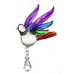 Fantasy Glass Rainbow Songbird Swarovski Crystal Suncatcher