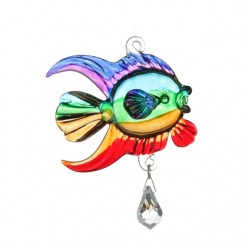 Fantasy Glass Marine Rainbow Coral Fish Swarovski Crystal Suncatcher