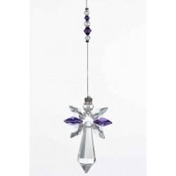 February Birthstone Amethyst Crystal Large Guardian Angel Hanging Charm