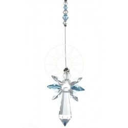 March Birthstone Aquamarine Crystal Large Guardian Angel Hanging Charm