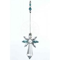 December Birthstone Blue Zircon Crystal Large Guardian Angel Hanging Charm