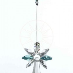 December Birthstone Blue Zircon Crystal Large Guardian Angel Hanging Charm