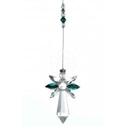 May Birthstone Emerald Crystal Large Guardian Angel Hanging Charm