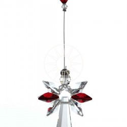 January Birthstone Garnet Crystal Large Guardian Angel Hanging Charm