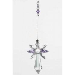 June Birthstone Light Amethyst Crystal Large Guardian Angel Hanging Charm